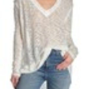 NWT Free People Ocean Air Hacci Pullover. Ivory M.